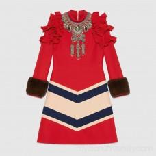 Embroidered wool silk dress -  Women's Dresses 438397ZHK676462  438397 ZHK67 6462
