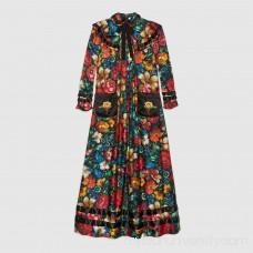 Floral print silk dress -  Women's Dresses 449303ZIK081061  449303 ZIK08 1061
