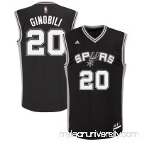 Men's adidas San Antonio Spurs Manu Ginobili Black Road Replica Jersey -   491909