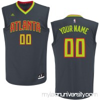 Men's Atlanta Hawks adidas Black Custom Replica Road Jersey -   2253943