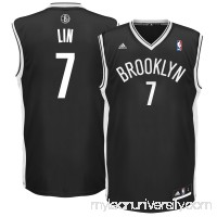 Men's Brooklyn Nets Jeremy Lin adidas Black Replica Jersey -   2592350