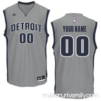 Men's Detroit Pistons adidas Gray Custom Replica Alternate Jersey -   2280762