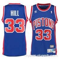 Men's Detroit Pistons Grant Hill adidas Royal Hardwood Classics Swingman Jersey -   1780987