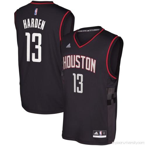 newest a6f5a 96da1 Men's Houston Rockets James Harden adidas Black Alternate ...