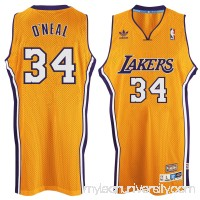 Men's Los Angeles Lakers Shaquille O'Neal adidas Gold Hardwood Classics Swingman Jersey -   2035301