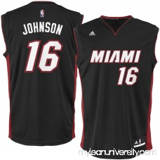 Men's Miami Heat James Johnson adidas Black Replica Jersey - 2626197