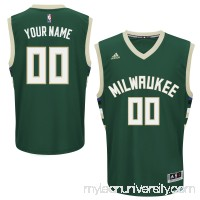 Men's Milwaukee Bucks adidas Hunter Green Custom Road Replica Jersey -   2163376