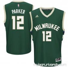 Men's Milwaukee Bucks Jabari Parker adidas Hunter Green Road Replica Jersey - 2162951