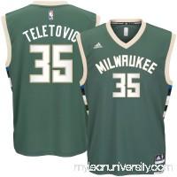 Men's Milwaukee Bucks Mirza Teletovic adidas Green Road Replica Jersey -   2622777