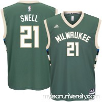 Men's Milwaukee Bucks Tony Snell adidas Green Road Replica Jersey -   2622776