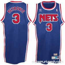 Men's New Jersey Nets Drazen Petrovic adidas Royal Blue Hardwood Classics Swingman Jersey -   2035307