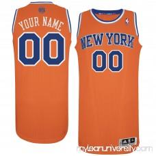 Men's New York Knicks Orange Custom Authentic Jersey - 1562163