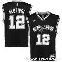 Men's San Antonio Spurs LaMarcus Aldridge adidas Black Replica Road Jersey -   1829969