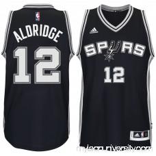 Men's San Antonio Spurs LaMarcus Aldridge adidas Black Road Swingman climacool Jersey -   2247283