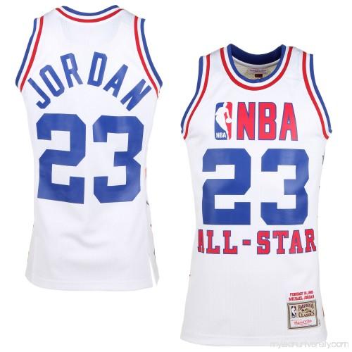 Mens 1985 East All-Stars Michael Jordan Mitchell   Ness White Hardwood  Classics Authentic Jersey - 1834440 b4d46afec