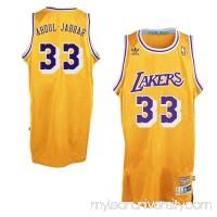 Mens Los Angeles Lakers Kareem Abdul-Jabbar adidas Gold Hardwood Classics Swingman Jersey -   1626952