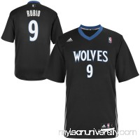 Mens Minnesota Timberwolves Ricky Rubio adidas Black Replica Alternate Jersey -   1618834