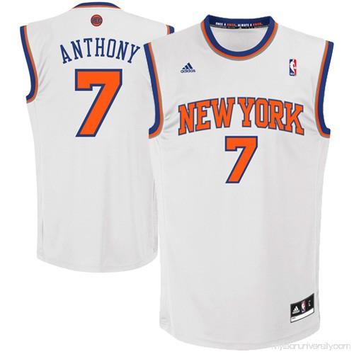 af212154ea5 Mens New York Knicks Carmelo Anthony adidas White Replica Home Jersey -  879265