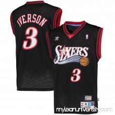 Mens Philadelphia 76ers Allen Iverson adidas Black Hardwood Classics Swingman Jersey -   1622304