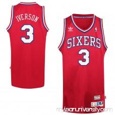 Mens Philadelphia 76ers Allen Iverson adidas Red Hardwood Classics Swingman Jersey -   1622305