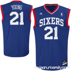 Mens Philadelphia 76ers Thaddeus Young adidas Royal Blue Replica Alternate Jersey - 1215390