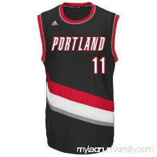 Mens Portland Trail Blazers Meyers Leonard adidas Black Replica Road Jersey - 2043456