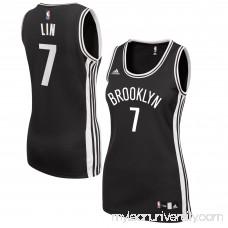 Women's Brooklyn Nets Jeremy Lin adidas Black Road Replica Jersey -   2609200