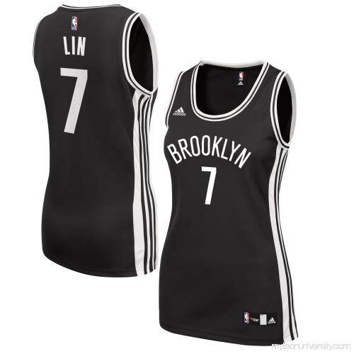 31d4bcb7eda Women s Brooklyn Nets Jeremy Lin adidas Black Road Replica Jersey - 2609200