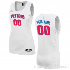 Women's Detroit Pistons adidas White Custom Fashion Jersey - 2649722
