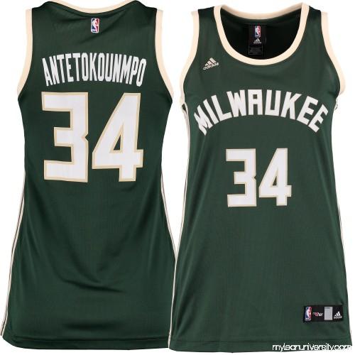 98b9a0c00 Women s Milwaukee Bucks Giannis Antetokounmpo adidas Green Replica Jersey -  2229835