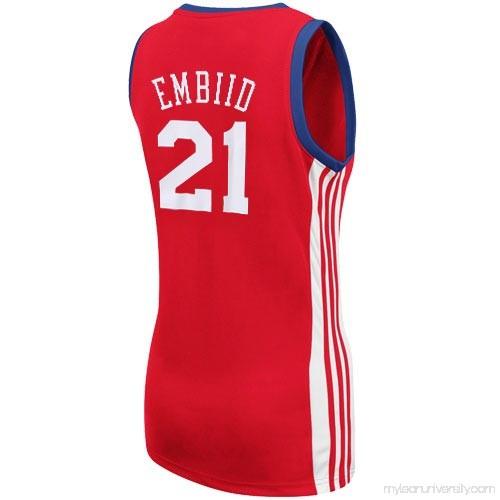 hot sale online 12fe4 88689 Women's Philadelphia 76ers Joel Embiid adidas Red Replica ...