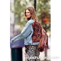 Eggplant Combo Paisley Quilted Denim Jacket   41579061