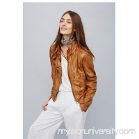 Metallic Bronze Fitted and Rugged Leather Jacket   39823190